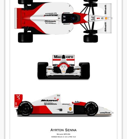 McLaren MP4/6A - Ayrton Senna 3 angles Art print Sticker