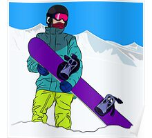 Snowboarder man with snowboard in mountain Poster