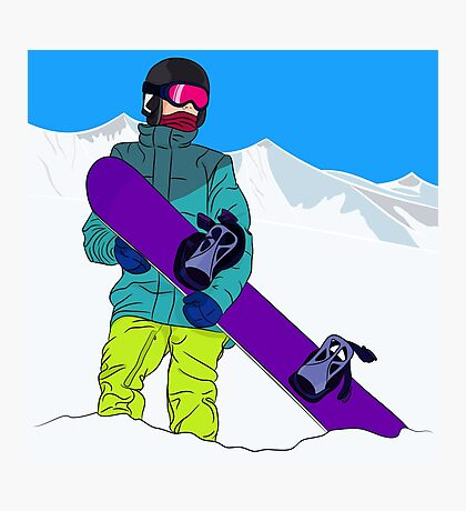Snowboarder man with snowboard in mountain Photographic Print