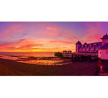 Dramatic Sky and Penarth Pier before Sunrise Panorama Photographic Print