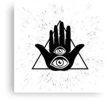 Hand and two eyes Canvas Print