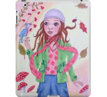 Autumn girl with bird and ladybug iPad Case/Skin