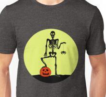 Halloween Skelett mit Kürbis und Spinne Unisex T-Shirt