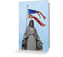 Tattered American flag with Jesus statue Greeting Card