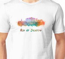 Rio de Janeiro V2 skyline in watercolor Unisex T-Shirt