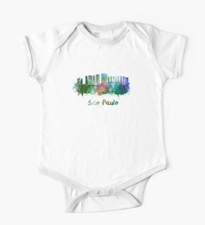 Sao Paulo V2 skyline in watercolor One Piece - Short Sleeve