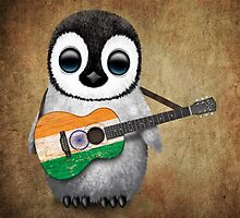 Baby Penguin Playing Indian Flag Guitar by Jeff Bartels
