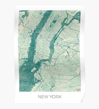 New York Map Blue Vintage Poster