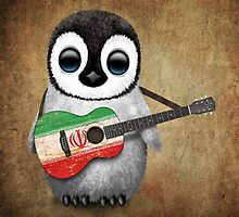 Baby Penguin Playing Iranian Flag Guitar by Jeff Bartels