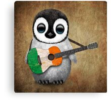 Baby Penguin Playing Irish Flag Guitar Canvas Print