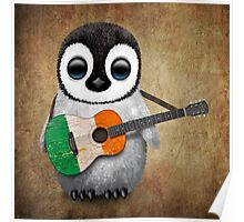Baby Penguin Playing Irish Flag Guitar Poster