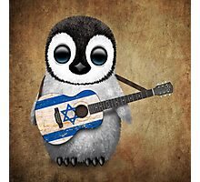Baby Penguin Playing Israeli Flag Guitar Photographic Print
