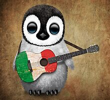 Baby Penguin Playing Italian Flag Guitar by Jeff Bartels