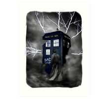 Ligthning Into Blue Bad Wolf Public Police Call Box Art Print