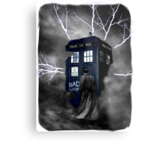 Ligthning Into Blue Bad Wolf Public Police Call Box Metal Print