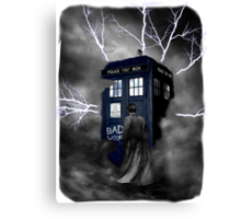 Ligthning Into Blue Bad Wolf Public Police Call Box Canvas Print