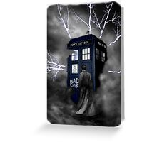Ligthning Into Blue Bad Wolf Public Police Call Box Greeting Card