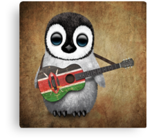 Baby Penguin Playing Kenyan Flag Guitar Canvas Print