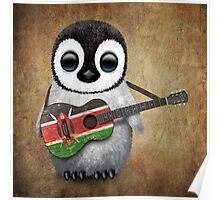Baby Penguin Playing Kenyan Flag Guitar Poster