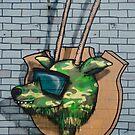 Graffiti mural Gazelle on teh brick wall by yurix