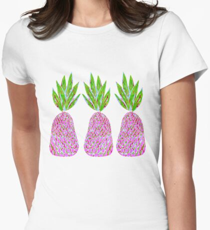 Pineapple Crush on pale yellow Womens Fitted T-Shirt