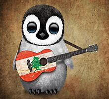 Baby Penguin Playing Lebanese Flag Guitar by Jeff Bartels