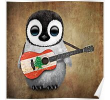 Baby Penguin Playing Lebanese Flag Guitar Poster