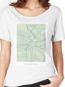 Los Angeles Map Blue Vintage Women's Relaxed Fit T-Shirt