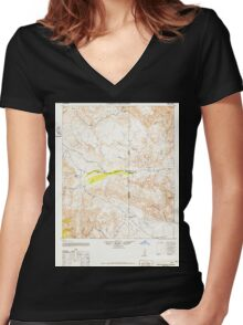 USGS TOPO Map California CA Carrizo Mountain 297039 1942 62500 geo Women's Fitted V-Neck T-Shirt
