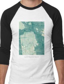San Francisco Map Blue Vintage Men's Baseball ¾ T-Shirt