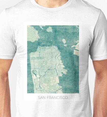 San Francisco Map Blue Vintage Unisex T-Shirt
