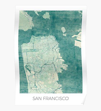 San Francisco Map Blue Vintage Poster