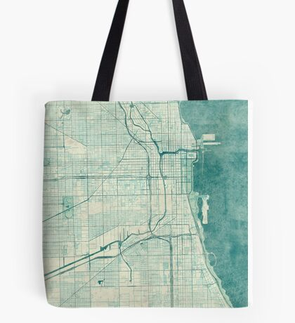 Chicago Map Blue Vintage Tote Bag