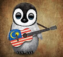 Baby Penguin Playing Malaysian Flag Guitar by Jeff Bartels