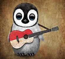 Baby Penguin Playing Monaco Flag Guitar by Jeff Bartels
