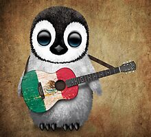 Baby Penguin Playing Mexican Flag Guitar by Jeff Bartels