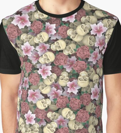 Skulls and flowers Graphic T-Shirt