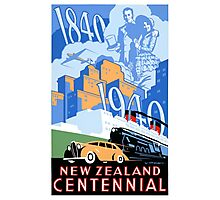 New Zealand Vintage Poster Restored Photographic Print
