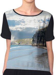 tourists at ballybunion beach and cliffs Chiffon Top