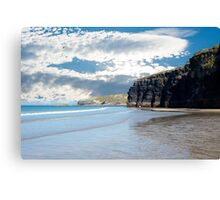 tourists at ballybunion beach and cliffs Canvas Print