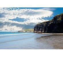 tourists at ballybunion beach and cliffs Photographic Print