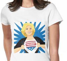 Mild mannered Hillary Clinton tearing shirt open Womens Fitted T-Shirt