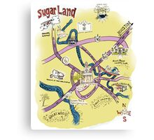 Sugar Land, TX Souvenir Style Map Canvas Print