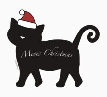 Black Meow Merry Christmas One Piece - Short Sleeve