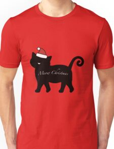 Black Meow Merry Christmas Unisex T-Shirt