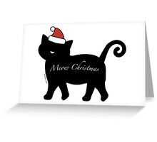 Black Meow Merry Christmas Greeting Card