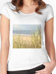 Peaceful Seagrass horizontal Women's Fitted Scoop T-Shirt