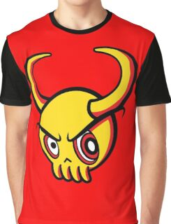 Yellow Skull with Horns Graphic T-Shirt
