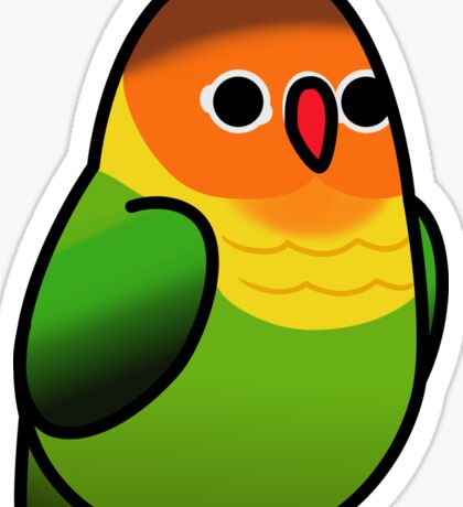 Too Many Birds! - Orange n' Green Lovebird Sticker