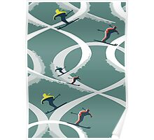 Mid Century Figure 8 Skiers in Retro Style on Teal Poster